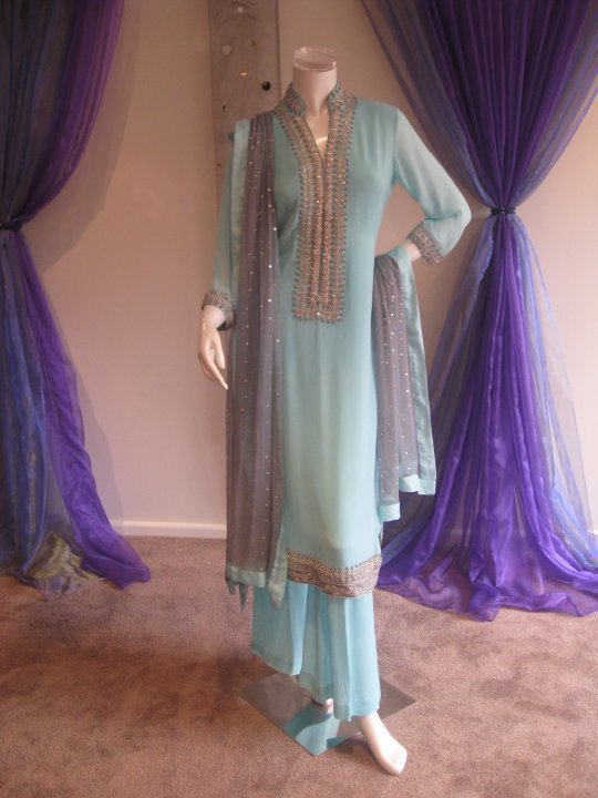 Pakistani Casual Fashion- Light Blue Casual Wear Dress