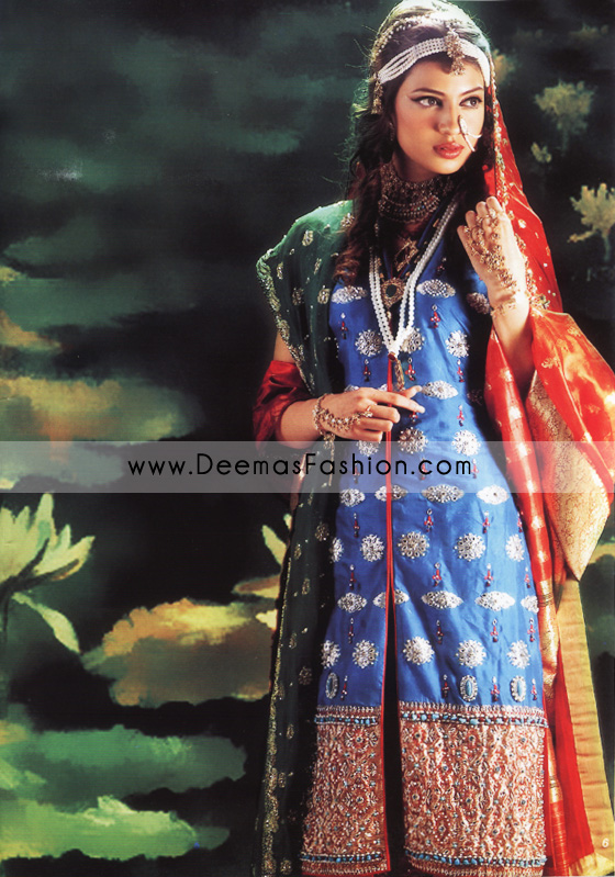 Pakistani Designer Wear Bridal Dress - Red & Blue