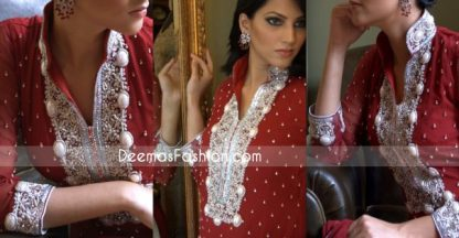 Pakistani Formal Wear Designs - Deep Red Embroidered Dress