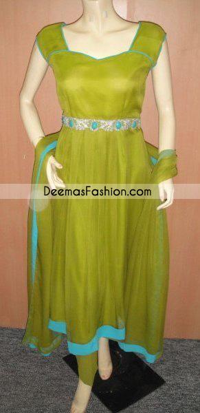 Pakistani Latest Fashion - Simple Mehndi Green Anarkali Dress