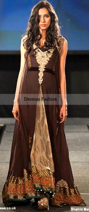 Pakistani Designer Wear Brown Front Open Anarkali Dress