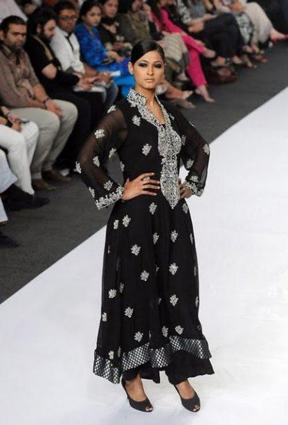 Pakistani Designer Dress – Black Silver Anarkali Pishwas