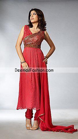 Pakistani Designer Collection - Red Anarkali Churidar Dress