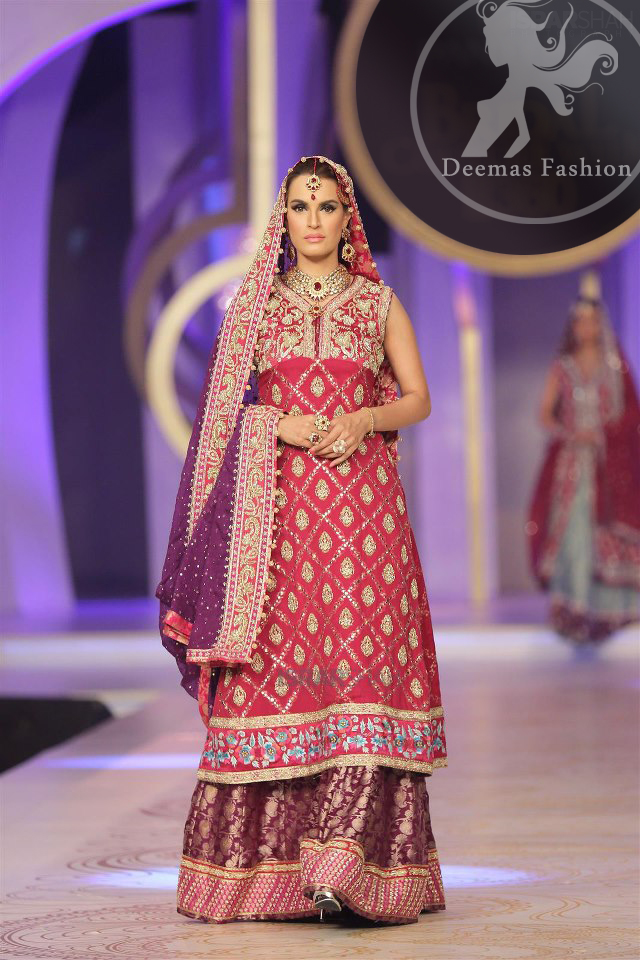Pinkish Red Aline Frock with Purple Lehnga and Dupatta