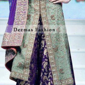 Latest Walima Dress Pistachio Green Purple Sharara