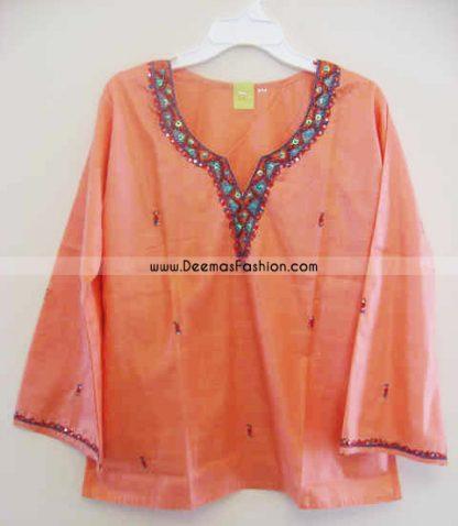 Ladies Kurta Fashion – Peach Short Kurti Wear