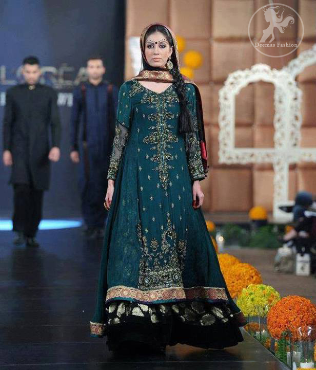 Teal Double Layer Anarkali Frock and Trouser
