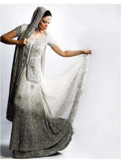 White Silver Grey Lehnga with Anarkali Frock