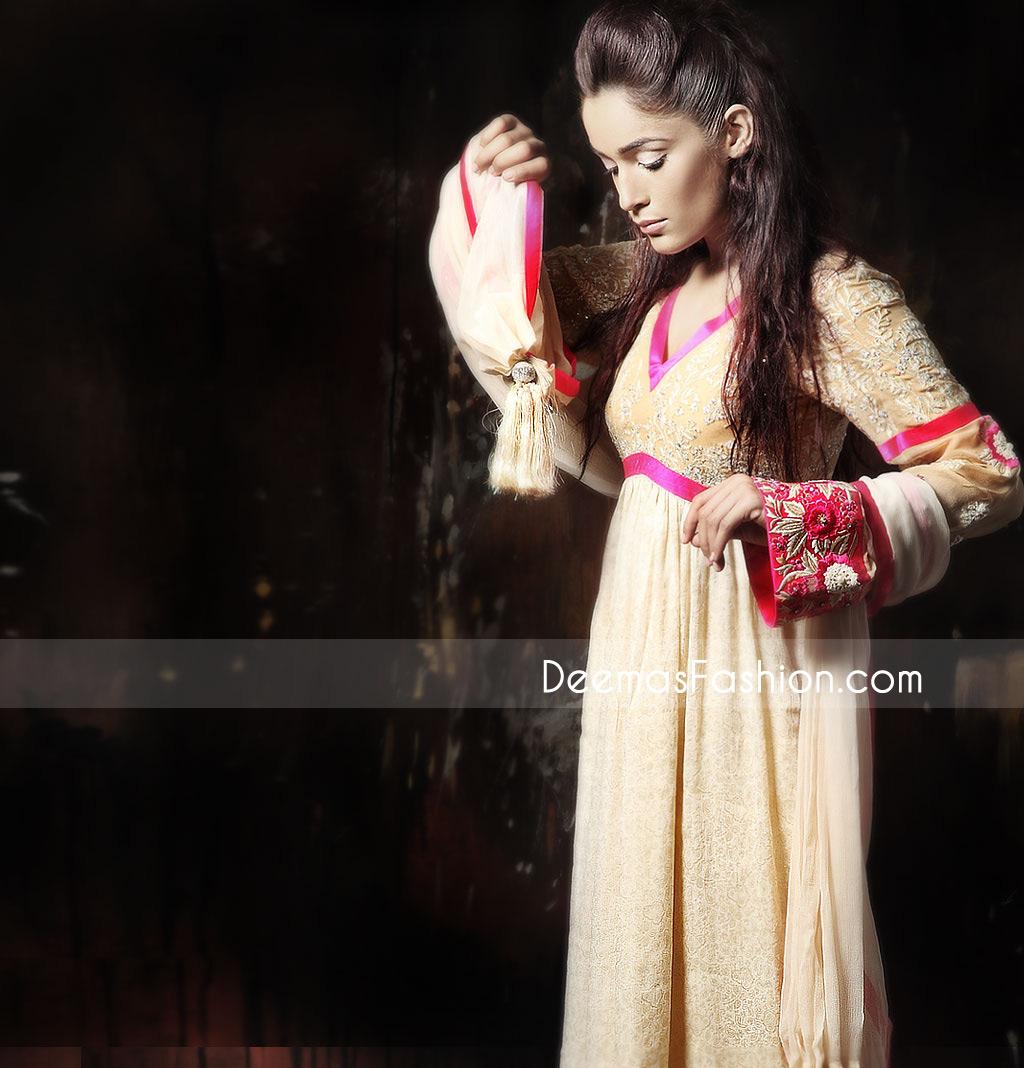 Buy Latest Fashion Dresses - Beige Chiffon Pishwas Outfit