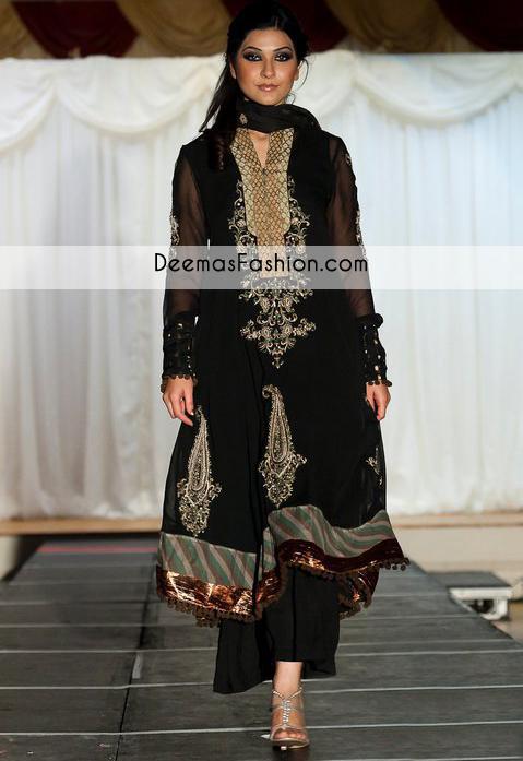 Black Aline Embellished Party Wear Formal Dress
