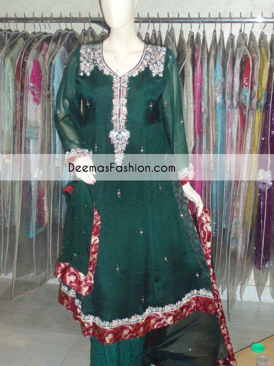Bottle Green Formal Wear Anarkali Frock