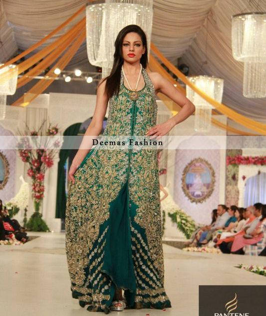Bottle Green Heavy Bridal Dress