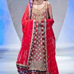 Bright Red Fully Embroidered Shirt Bridal Lehnga and Dupatta