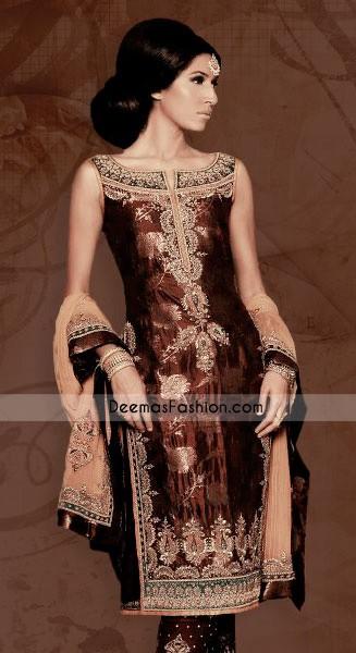 Latest Asian Fashion - Dark Brown Jamwar