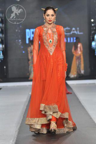 Dark Orange Aline Back Trail Anarkali Frock and Churidar