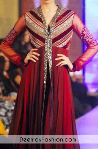 Deep Red Front Open Anarkali Pishwas