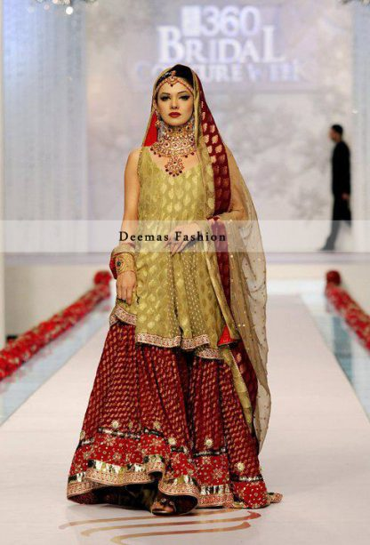 Mehndi Colour Shirt Deep Red Bridal Lehnga