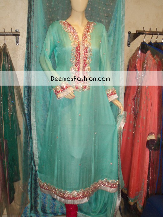 Ferozi Blue Aline Party Wear Kameez Churidar