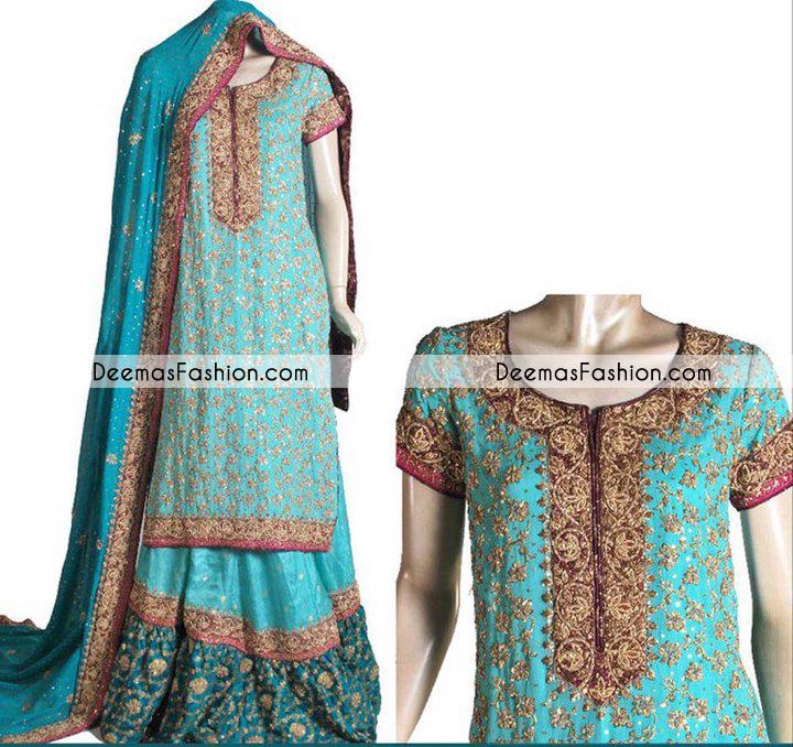 Ferozi Green Bridal Wear Lehnga