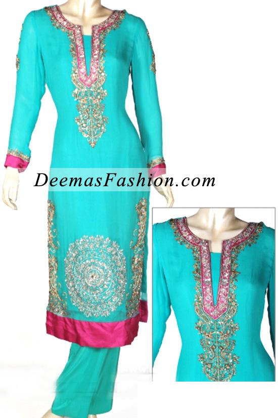 Ferozi Green Semi Formal Dress