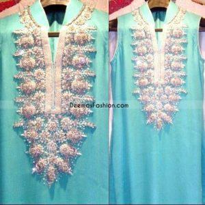 Designer Wear - Ferozi With Silver Embroidery