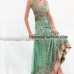 Pakistani Boutique Design Green Golden Chiffon Frock