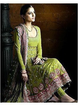 Asian Latest Anarkali Mehndi Green Bridal Wear Dress