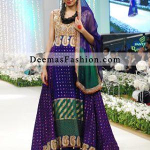 Latest Pakistani Designer Wear Multi Colour Heavy A-line Dress