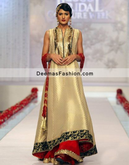 Latest Pakistani Formal Dress Dull Golden Aline Frock