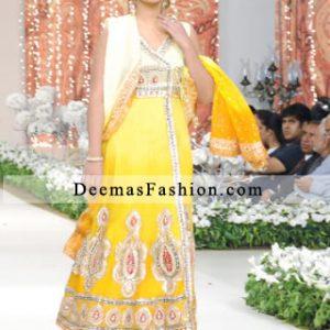 Lemon and Bright Yellow Andrakha Style A-Line Dress