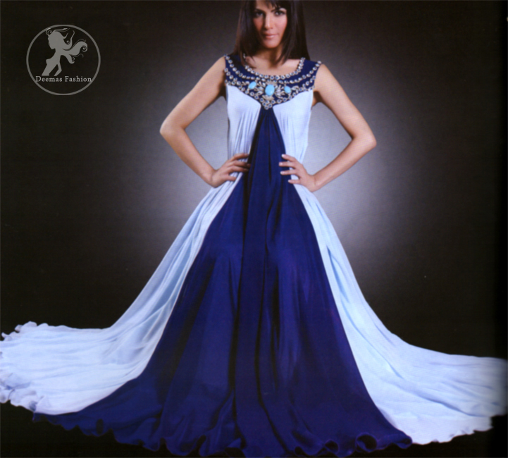 Light Blue & Royal Blue Front Open Casual Frock & Churidar Pajama