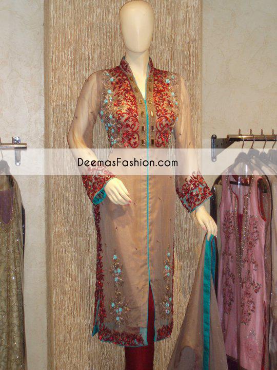 Light Brown Deep Red Formal Wear Dress