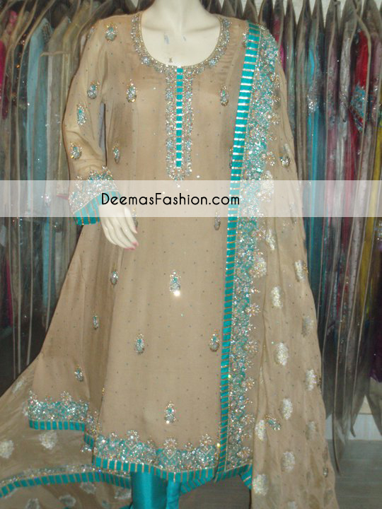 Light Brown Ferozi Green Anarkali Frock Churidar Dress