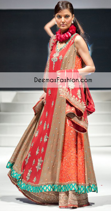 Multi Color Aline Bridal Wear Frock sharara