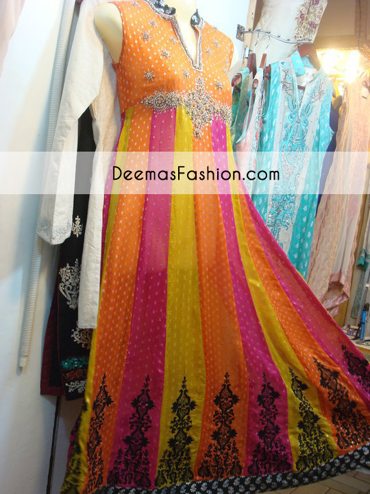 Multi Color Bridal Mehndi Wear Anarkali Pishwas Frock Churidar
