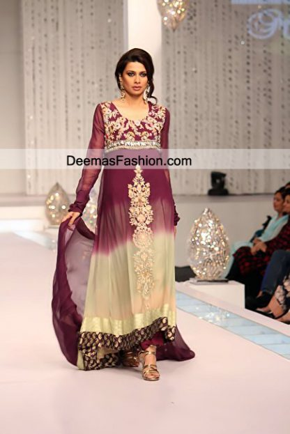 Pakistani Eid Dresses Double Tone Eid Wear Aline Dress