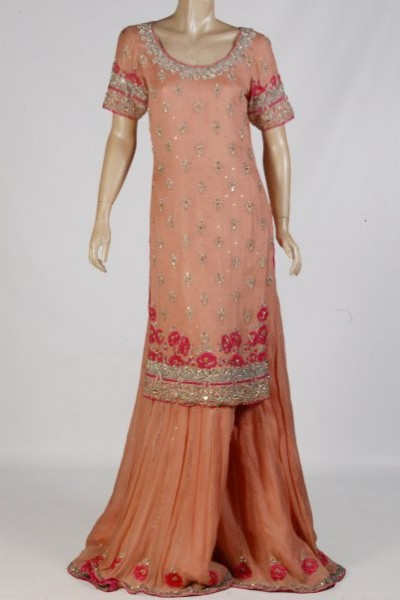 Peach-Sharara Wid Long Shirt