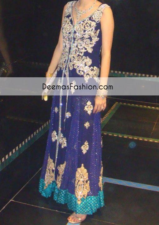 Purple Blue Anarkali Pishwas Heavy Formal Dress