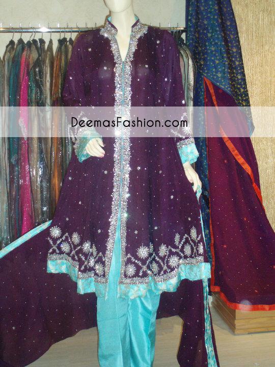 Purple Ferozi Aline Party Wear Shirt