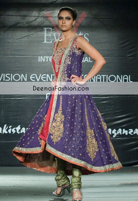 Purple Green Aline Party Wear Dress with Churidar