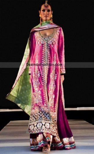 Latest Pakistan Shocking Pink Magenta Bridal Wear Sharara