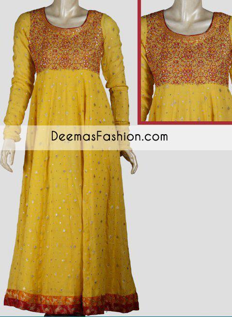 Yellow Aline Bridal Wear Frock