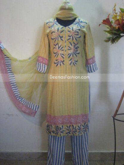 Pakistani Shalwar Kameez Casual Suit Yellow Blue Lining